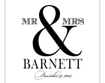 16 x 20 Mr and Mrs Wedding Guest Book Poster, Table Sign or Guest Book Sign by Flair Designery