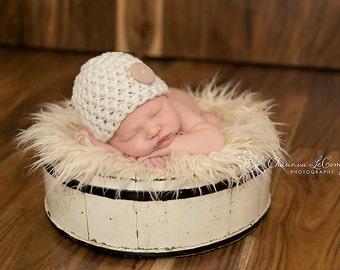 Newborn Cream Button Beanie Hat