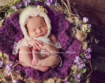 Purple Furry Newborn Baby Blanket Photo Prop