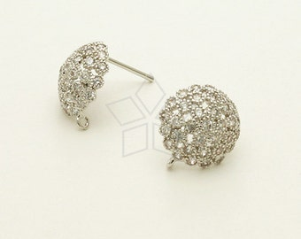 SI-578-OR / 2 Pcs - Jewelry Dome Stud Earrings, Silver Plated, with .925 Sterling Silver Post / 12mm