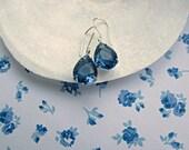 Montana Sapphire Teardrop earrings, Sterling Silver earrings