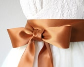Copper Wedding Sash, Rust, Orange, Double Faced Satin Ribbon Belt, 2.25 Inches Wide - Bridal Belt, Bridesmaid, Flower Girl Sash