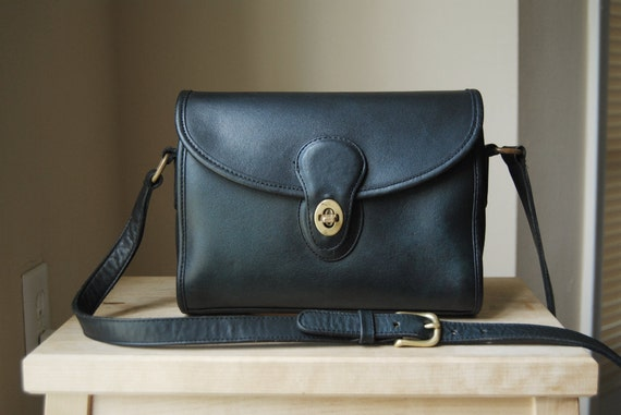 Authentic Vintage Coach Devon Bag - Made in USA - Black Leather Crossbody Bag with Flap and Turnlock Closure