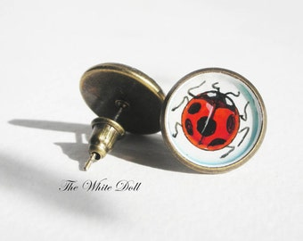 Handpainted earrings - Ladybags - good luck - lucky earrings