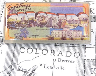Greetings from COLORADO Vintage Large Letter Postcard Pendant Necklace