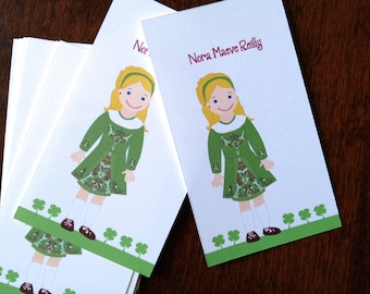Irish Dancing Calling cards 20 TAGS or gift cards personalized for girls