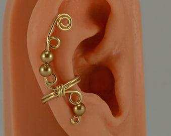 Gold Filled Ear Cuff Wrap Swarovski Gold Pearls