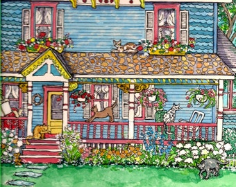 ACEO signed print of original watercolor painting, House Of Cats
