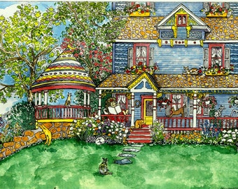 ACEO signed print House Of Cats - Mini print of original pen/ink and watercolor