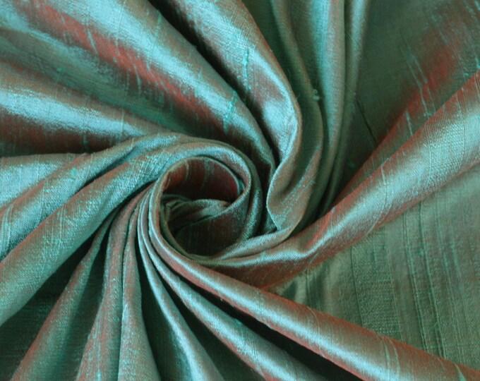 Robin's Egg Blue  Red Orange iridescent Wholesale 100% Dupioni Silk Fabric Roll/ Bolt