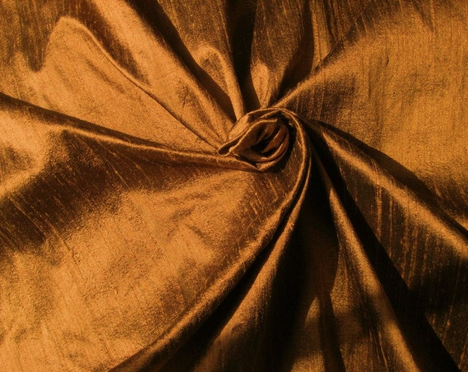 "Bronze Brown 100% dupioni silk fabric yardage By the Yard 55"" wide NOW 55 inches wide"