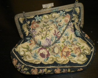 x Antique Needlepoint Rose Purse with Ornate Clasp (FF204)