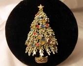 Signed Art 1970s Multi Color Enamel and Rhinestone Vintage Christmas Tree Pin
