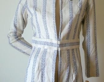 60s Vintage natural beige linen woven blue tribal print coat dress Korvettes XS NOS Deadstock NBW