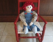 Raggedy Andy Cloth Doll with Rag Hair Handmade 24 inches