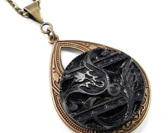 Victorian Mourning Button Necklace - Midnight Blossom by Compass Rose Design