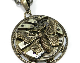 Steampunk Necklace Gold Butterfly Necklace Clockwork Pocket Watch Edwardian Revival, Steampunk Jewelry by Compass Rose Design