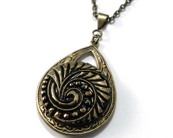 Antique Button Necklace - Gold Geometric Spiral - Large Teardrop - Vintage Victorian Bohemian Steampunk Jewelry by Compass Rose Design