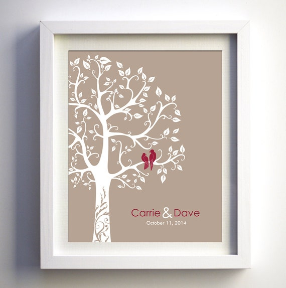 Wedding Anniversary Gift Ideas Personalized wedding anniversary Paper Anniversary Gift Wedding Tree Love Birds Engagement Gift Bridal Shower