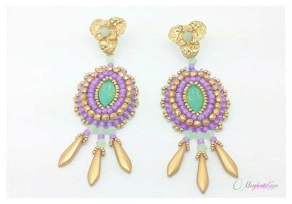 Bead embroidery tutorial acapulco earrings pattern how to