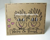 "Greeting Card PinHead Happy Face ""We're So Proud"""