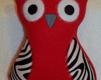 Handmade Stuffed Large Red Fleece Owl