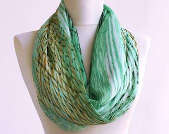 Zebra spring scarf mint loop scarf summer scarves women gift idea fashion accessories lightweight chiffon infinity scarf green tube scarf