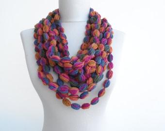 Infinity scarf fall  winter crochet long scarf puffy stitch scarf multicolor loop scarf