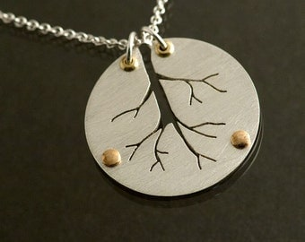 Roots to your Past Silver and Brass Pendant Necklace, Tree of Life Pendant, Family Tree Silver Pendant, Ready to Ship