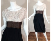 Vintage 1960s Trudy O'Neil Originals Wiggle Dress in White Lace and Back Crepe Madmen Style Joan Dress