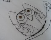 Wire Sculptured Art Owl Rustic Hammered Metal