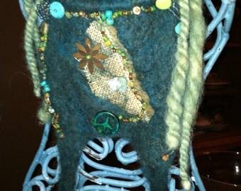 Native Woodland Felted & Beaded Necklace