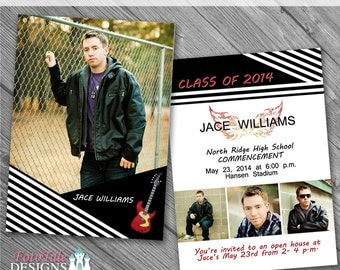 INSTANT DOWNLOAD - It's a Guy Thing Graduation Announcement No. 1- photo templates on WHCC, Miller's Lab and ProDigitalPhotos Specs