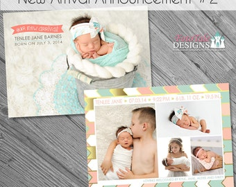 INSTANT DOWNLOAD - New Arrival Birth Announcement 2- double-sided 5x7 templates for photographers on WHCC and Millers Lab specs