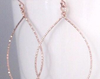 Tear shaped hoops 14k Rose Gold Vermeil, large hammered hoops earrings, tear drop hoops, dainty hoop earrings, Valentine's day gift idea
