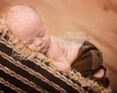 Newborn Baby Boy Photo Props, Baby Boy Pants with Back Pockets, Chocolate Brown Newborn Jersey Pants, Baby Boy Photography Props,