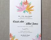 Lilies Watercolor Wedding Invitation