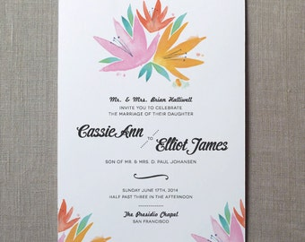 Lilies Watercolor Wedding Invitation