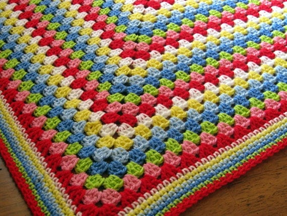 Crochet Blanket Afghan Granny Square Cath Kidston Colours Throw