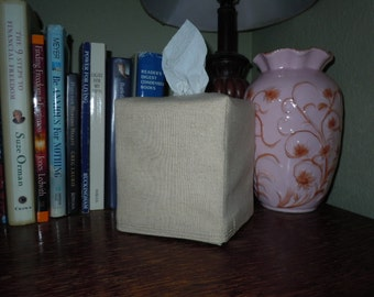 Blank Essex Natural Linen Tissue Box Cover -  Made To Order with NO MONOGRAMMING
