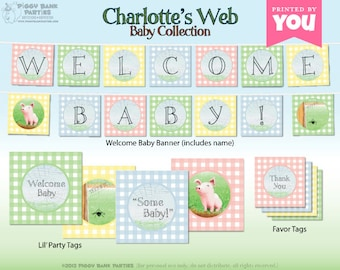 CHARLOTTE'S WEB Baby Collection - DIY Printable Baby Shower Decorations