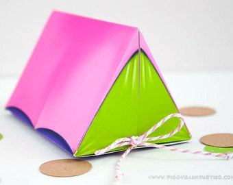 Campout Tent Favor Box - Pink, Purple & Lime : Print at Home Camping Favor Gift Box | Camp | DIY Printable | Digital File - Instant Download