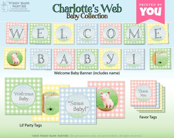 charlotte 39 s web inspired baby collection print at home baby shower