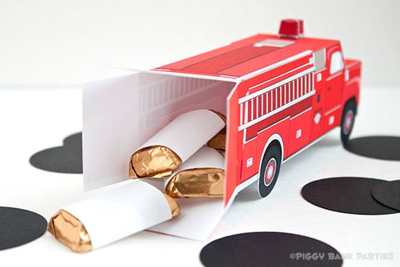 Vintage Fire Truck Favor Box Red  DIY Printable Firetruck