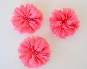 3 chiffon flowers with scalloped edges, hot pink chiffon flower