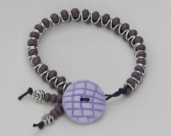 Pretty Purples Stackable Bracelet - purple lilac button bracelet glass stackable beaded