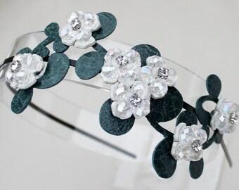Bridal white headband leather flowers crystal beads teal leaves on black metal headband woodland wedding garden wedding bridal tiara prom