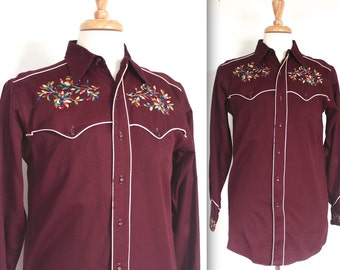 Vintage 1940's Shirt // 40s Mens Maroon Gabardine Embroidered Rockabilly Western Shirt // DIVINE