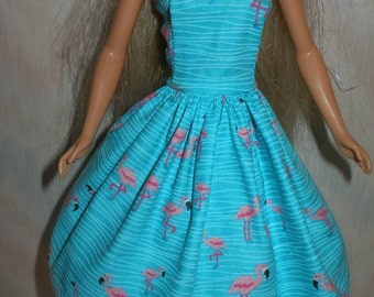 "Handmade 11.5"" Fashion doll clothes -blue and pink flamingo dress"