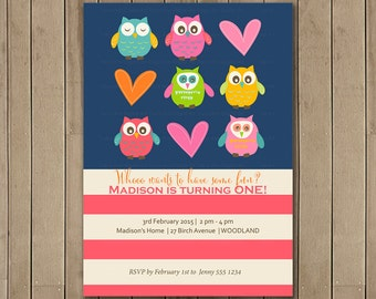 Owls Birthday Party Invitation, Printable, DIY, Owl party, 1st Birthday